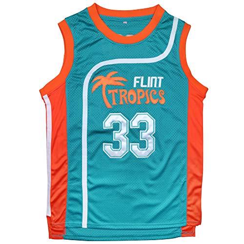 Afuby Flint Tropics Jersey Moon #33 Basketball Jerseys,90S Hip Hop Jersey S-XXXL (Green, L)