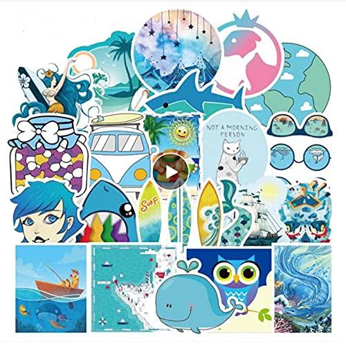 WYZDGTD 50Pcs Blue Style Series Graffiti Toy Trolley Case Lindo Impermeable Guitarra Teléfono Móvil Monopatín Etiqueta Engomada del Coche