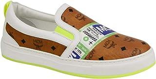 MCM Women's Cognac Brown Visetos with Tag Print Slip On Sneakers MES9SMM53CO0