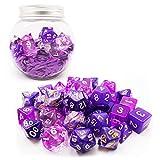 Bescon 35pcs Polyhedral RPG <span class='highlight'><span class='highlight'>Dice</span></span> Amethysts Set, DND Role Playing Game <span class='highlight'><span class='highlight'>Dice</span></span> Purple Sets 5X7pcs