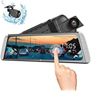 """Campark R10 Backup Camera 10"""" Mirror Dash Cam Video Streaming Rear View Mirror Dual-Lens 1080P Camera with Travelapse, 24H's Parking Monitor and GPS"""