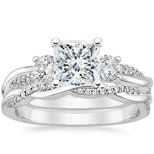 Blocaci Princess Cut Wedding Ring Set