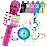 ATLAS. Microfono Karaoke, Wireless Bluetooth USB LED Flash Microfono Portatile per promozione regalo Altoparlante wireless per feste famiglia, Anche per far giocare i bambini, microfono bambini.(ROSA)