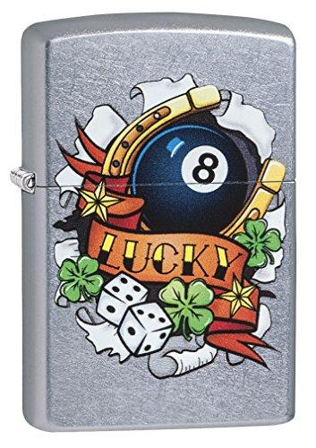 Zippo Lucky, Accendino Antivento, Ricaricabile a Benzina Unisex Adulto, Cromo con Stampa Colore, Regular 5.7 x 3.7 x 1.2 cm