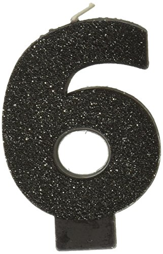 amscan Birthday Celebration Numeral #6 Glitter Candle Party Supplies Black 3 1/4quot170412