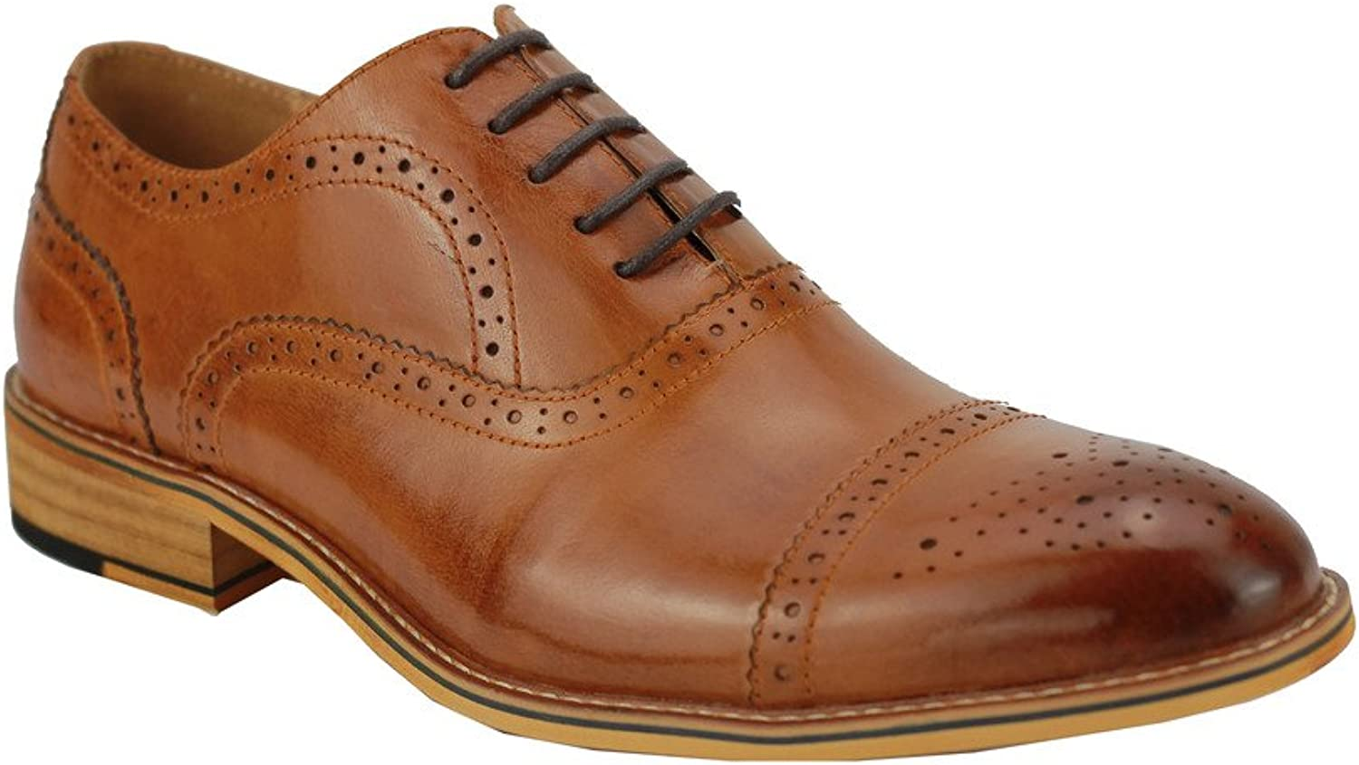 Xposed Mens Real Leather Black Tan Classic Oxford Lace up Smart shoes Brogue Punch Hole