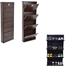 ORANGE CREATIONS Shoe Rack Wall Mounted Made of Galvanised Iron With 4 Shelf Store upto 16 Pair-Coffee Color