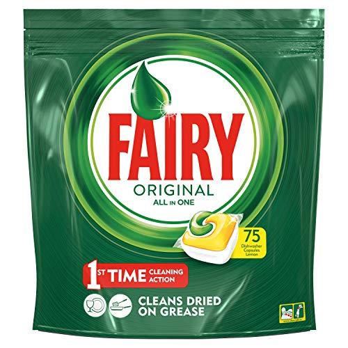 Fairy Original Todo en uno, 75 pastillas para lavavajillas, detergente en paquete...