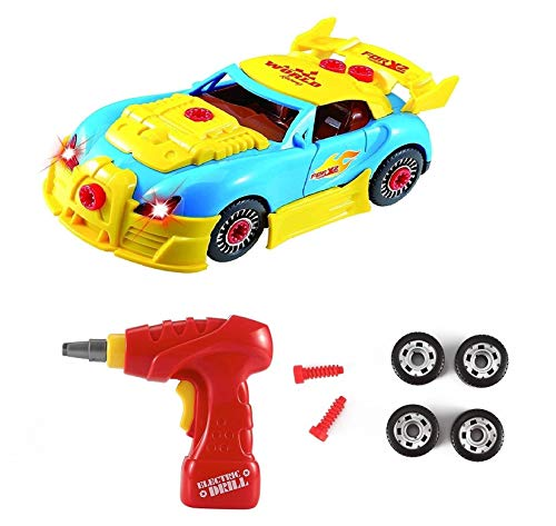 SOKA Build Your Own Racing Car Kit For Boys Aged 3 Years & Above - Take Apart Contrustion Toy Car with 30 Pieces & Electric Drill, Realistic Sounds & Lights