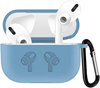 JKoYu Portable Earbuds & Headphones Earphones Accessories Silicone Portable Earphone Protective Case Cover with Hook for Air-Pods Pro 3 - Light Blue