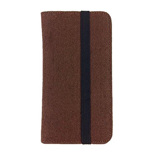 handy-point Universell Organizer für Smartphone Tasche aus Filz Filztasche Filzhülle Hülle Schutzhülle mit Kartenfach für Samsung, iPhone, Huawei (5,6-6,4 Zoll max 18 x 9,3 m, Braun)