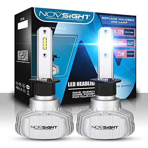 Phare De Voiture De LED Kit De Conversion, CSP Chips Super Lumineux 10000LM 50W Phare Extérieur 6500 Cool White,H1
