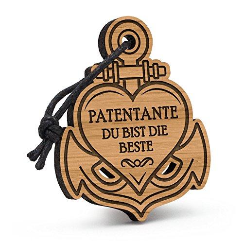Fashionalarm Schlüsselanhänger Anker Herz Patentante - Du bist die Beste aus Holz mit Gravur | Geburtstag Geschenk Idee Patin Taufe Danke Sagen