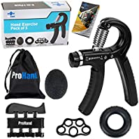 ProHand Premium Quality Hand Grip Strengthener Exercise Set (5-in-1 pack) - Adjustable Resistance Hand Gripper 5-60 KG,...