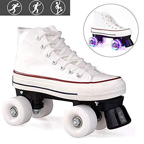 Quad Skate Rollschuhe Skating Outdoor für Damen Herren und Erwachsene, Discoroller Schuhe mit LED Leucht Räder für Kinder/Jungen/Mädchen,Weiß,43