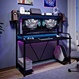 Sedeta Gaming Desk with Shelves and Hutch, 55'' Computer Desk with Monitor Shelf and Storage, Large PC Gamer Desk Workstation, Gaming Table for Bedroom, Studying Writing Table for Home Office, Black