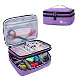 Luxja Double-Layer Sewing Supplies Organizer, Sewing Accessories Organizer for Needles, Thread, Scissors, Measuring Tape and Other Sewing Tools (Bag Only),Medium/Purple