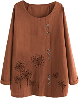 S-Fly Women Plus Size Long Sleeve Cotton Linen Casual Print Tops Shirts Blouse