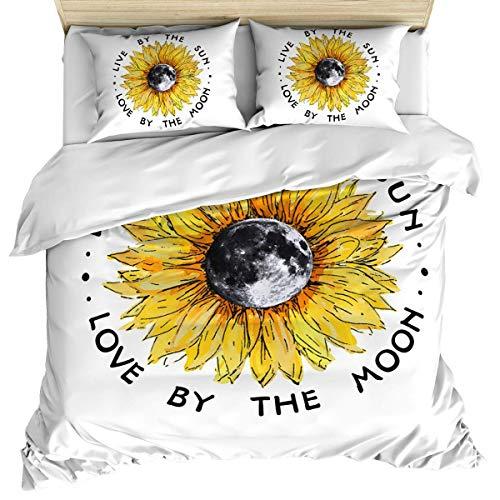 Funda nórdica de lujo para ropa de cama, funda nórdica de girasol floral vintage y fundas de almohada, juego de cama de 3 piezas, juego de funda nórdica suave / acogedora de algodón de flor de luna de
