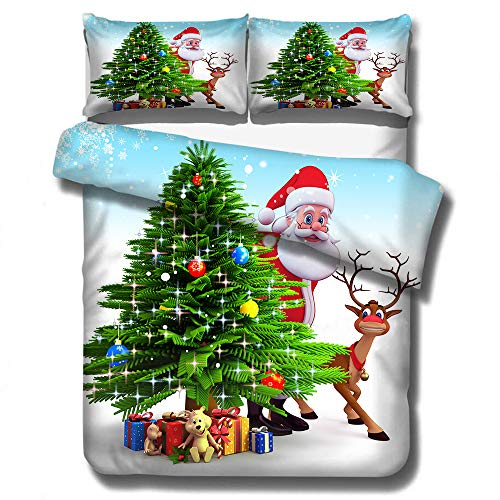 CQLXZ 3D printed Merry Christmas Duvet Cover,Hotel-style Microfiber fabric,Eco Soft Breathable Bedding Set,for Kids Adults Xmas Gift New Year Decor (B,Single 135x200cm)