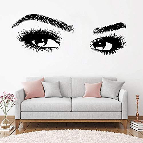 XCGZ Wandtattoo Schöne Augen Und Wimpern Wandtattoo Girl Eye Applique Kunst Beauty Salon Fenster Hintergrund Wandtattoo S 117Cm X 42Cm