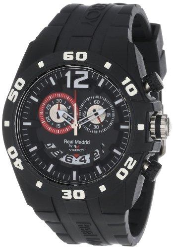 Reloj para mujer de Viceroy (43285355), del Real Madrid, estilo deportivo, con fecha, de caucho y plástico negro