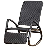 Outsunny Rocking Chair Fauteuil à Bascule Style Cosy Dossier Repose-Pied réglable résine tressée 4 Fils Imitation rotin Noir