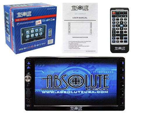 Absolute USA DD-4000AT 7-Inch Double Din Multimedia DVD Player Receiver with Touch Screen System Display and Detachable Front Panel Built-In Analog TV Tuner with SD/USB Slot