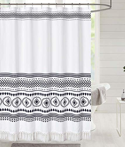 DOSLY IDÉES Tassel Shower Curtain,Boho and Tribal Style Bathroom Black Curtain Set with Hooks,72 x 72 in