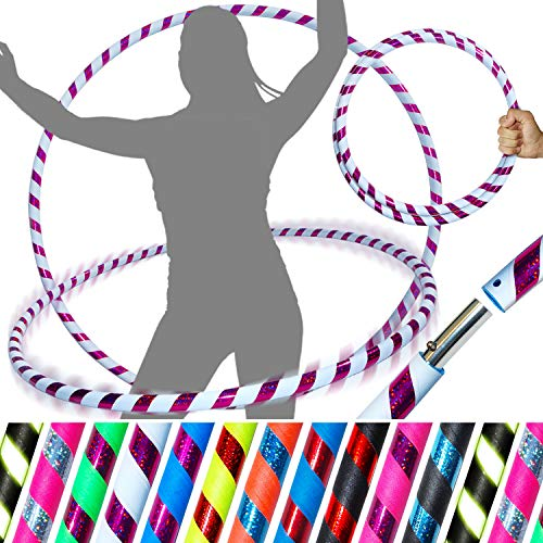 Pro Hula Hoop (UltraGrip/Glitzer) - faltbarer Hula-Hoop für Reisen, Fitness für Erwachsene, für Aerobic und Hoop-Tanz, Durchmesser 100cm, Gewicht 640g, Blanc / Violet Glitter