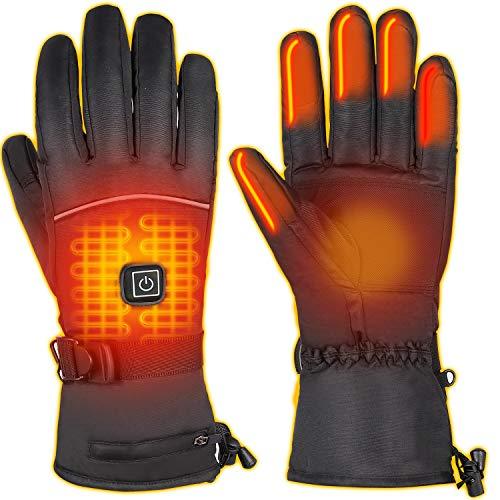 Qdreclod Beheizte Handschuhe für Herren Damen, 4000mAh Beheizte Lederhandschuhe Wiederaufladbare Lithium-Ionen-Batterie Beheizbare Handschuhe Fahrrad Motorrad Winterhandschuhe Ski-Handschuhe (Stil 1)