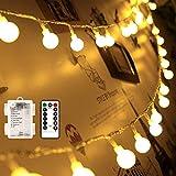 echosari [Remote & Timer] 16 Feet 50 LED Outdoor Globe String Lights 8...