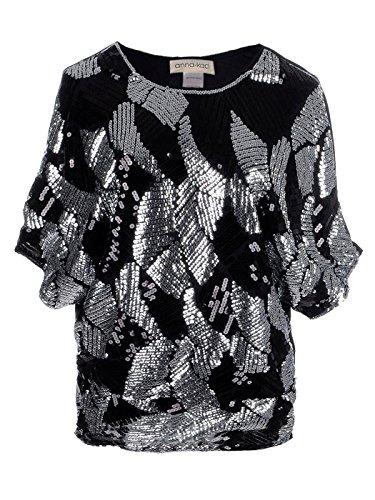 Anna-Kaci Frauen Bunt Lose rundlichen Glitzer Pailletten Dolmanärmel Abend Club Shirt Bluse, X-Large, Silber
