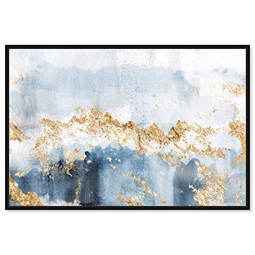 The Oliver Gal Artist Co. Abstract Framed Wall Art Canvas Prints 'Eight Days a Week' Watercolor Home Décor, 60' x 40', Blue, Gold