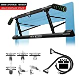 Multifunctional Pull Up Bar for Doorway with Mount Hook No Screw Chin Up/Situp Bar Ergonomic Grip Home Gym Exercise Equipment Strength Training Upper Body Workout Bar with Resistence Band