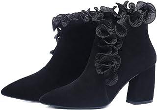 bienvenido a elegir Shirloy Shirloy Shirloy botas de Piel con Punta de Piel Gruesa con botas de tacón Alto botas de Mujer de Encaje Retro Zapatos de Mujer Salvaje  entrega gratis