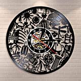 YINU Reloj de Pared de Cuarzo silencioso Decorativo con Tema de Viaje Hecho de...