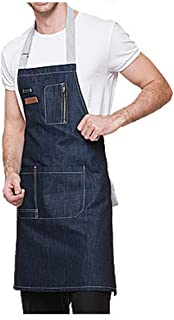 LANDY Denim Apron with Pockets for Men and Women, Chef, Kitchen, Restaurant, BBQ, Grill, Baking, Coffee Shop and Studio (Blue(Long:29.9x24.4inch))