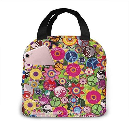 Coloridas flores hippies con signo de la paz y bolsa de almuerzo Yinyang para mujeres,niñas,niños,bolsa de picnic aislada,bolsa gourmet,bolsa cálida para el trabajo escolar,oficina,camping,viajes,pes