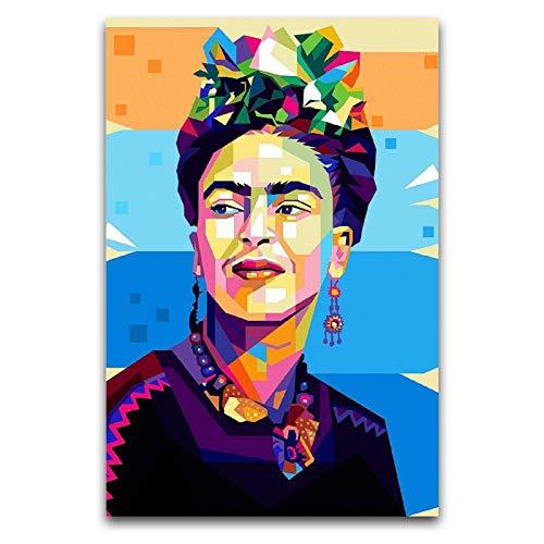 WPQL Frida Kahlo Portrait einer berühmten spanischen Malerin, Poster, Wandkunst, Dekoration, Leinwandbild, 40 x 60 cm