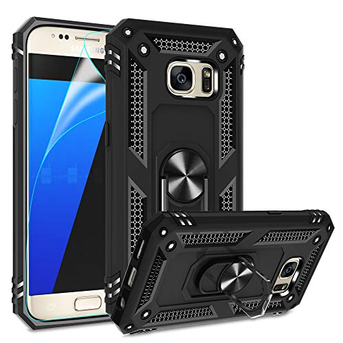 Compatible for Samsung Galaxy S7 Case with HD Screen Protector, Gritup Military-Grade Shockproof Protective Phone Case with Magnetic Kickstand Ring for Samsung S7 Black