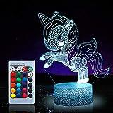 Unicornio luz nocturna para niños, juguetes de unicornio para niña, 16 colores cambiantes lámpara de noche con mando a distancia 1170
