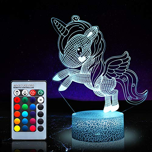 Luz de noche de unicornio para niños, juguetes de unicornio para niña, 16 colores cambiantes lámpara de noche con mando a distancia 1170