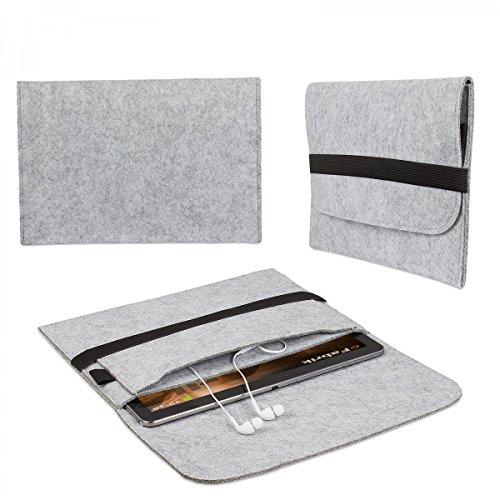 eFabrik Tasche für Dell Venue 10 Pro 10 Zoll Hülle Schutztasche Schutzhülle Cover Hülle aus Filz Grau