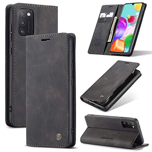 KONEE Hülle Kompatibel mit Samsung Galaxy A41, Lederhülle PU Leder Flip Tasche Klappbar Handyhülle mit [Kartenfächer] [Ständer Funktion], Cover Schutzhülle für Samsung Galaxy A41 - Schwarz