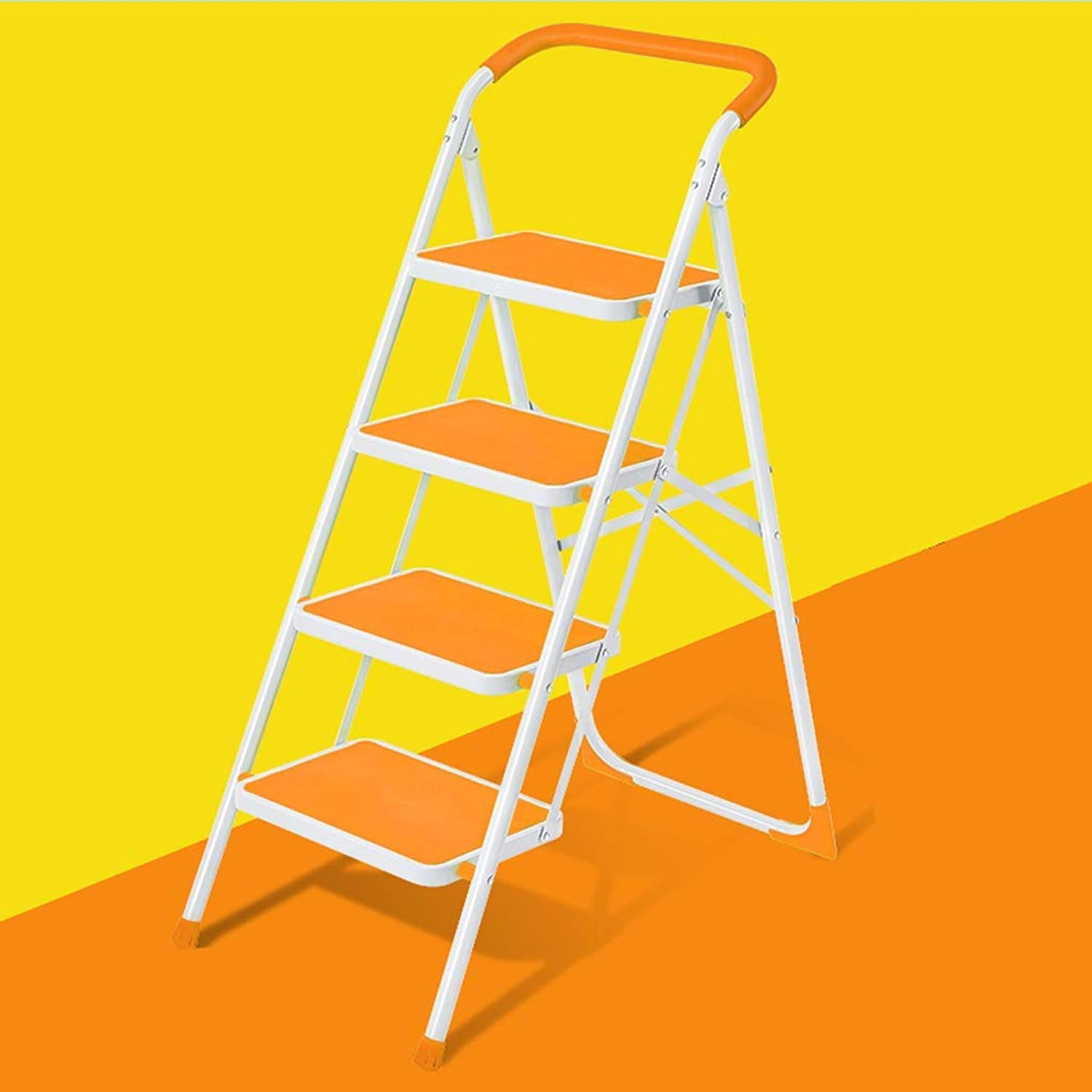 KTYXDE Staircase Staircase Four-Story Folding Stool Stair Chair Suitable for Kitchen Bedroom Indoor Multi-Function Household Shrinking Ladder 49x84x126CM Step Stool (color   orange)