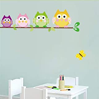 4 Owlets Wall Stickers for Kids Room Decorations Animals Wall Sticker Home Decals Cartoon PVC Safari Owls Mural Arts