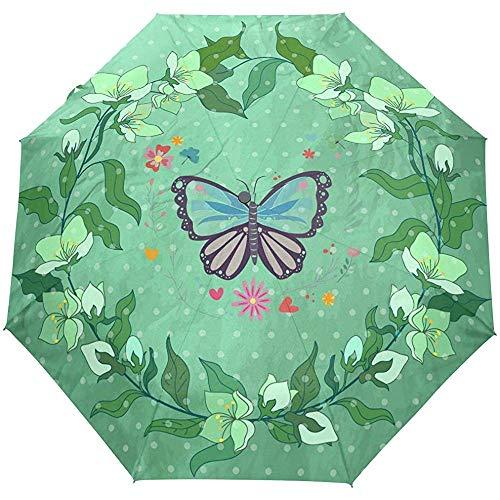 WILHJGH Blume Schmetterling Grün Automatisch Faltbarer Regenschirm UV-Schutz Auto Open Close Folding Sun Blocking Umbrellas