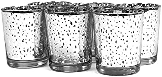 Koyal Wholesale 12-Pack Antique Votive Cup, Silver Mercury Glass Candle Holders, Wedding Votive Candle Holders