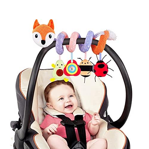Spiral Pram Toys for Babies Wrap-Around Pram Pushchair Stroller/Car Seat/Crib Sensory Early Education Play Toy, Activity Spiral Hanging Toy for Toddler Infant Boys Girls (Orange)